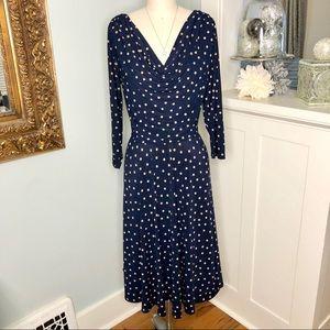 Evan Picone Navy Polka Dot Midi Swing Dress